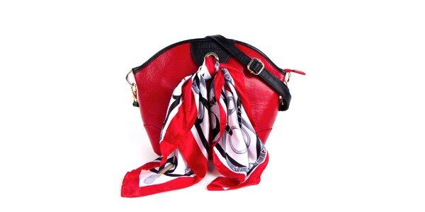 Dámska červená kožená kabelka so šatkou Belle & Bloom