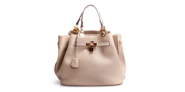 Dámska béžová kožená kabelka so zámočkom Belle & Bloom