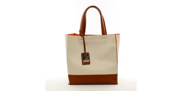 Dámska béžová kabelka s visačkou Beverly Hills Polo Club