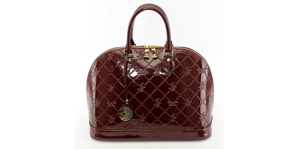 Dámska lakovaná gaštanovo hnedá kufríková kabelka Beverly Hills Polo Club