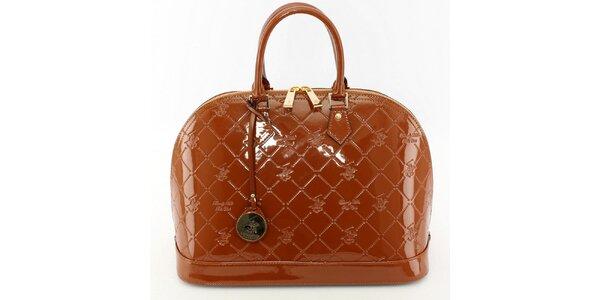 Dámska lakovaná čokoládová kufríková kabelka Beverly Hills Polo Club