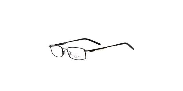 Pánske čierne okuliare s hranatými obrubami Replay