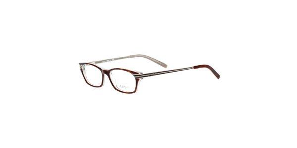 Dámske hnedo žíhané hranaté okuliare Replay