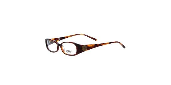 Dámske hnedé žíhané okuliare Replay
