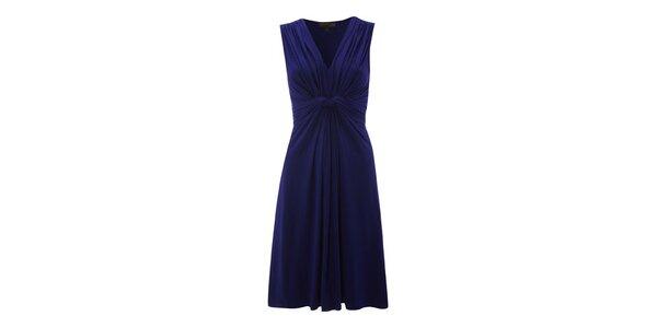 Dámske modré šaty s riasením Fever