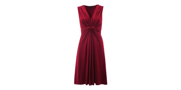 Dámske červené šaty s riasením Fever