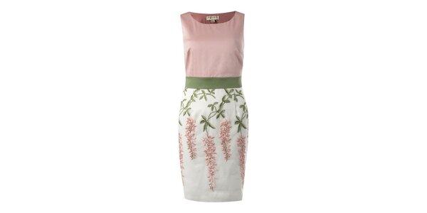 Dámske ružovo-zelené púzdrové šaty s kvetinovým vzrom Fever