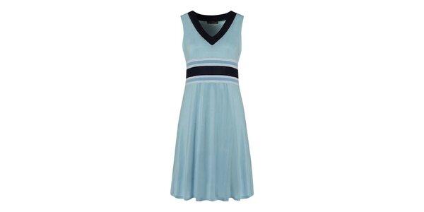 Dámske pastelovo modré šaty s tmavo modrými detailmi Fever