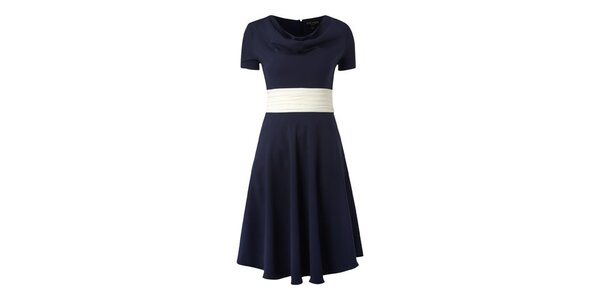Dámske tmavo modré šaty Fever s bielou stuhou