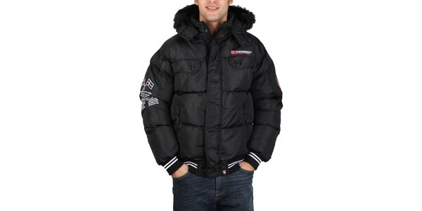Pánska čierna bunda s kapucňou Geographical Norway