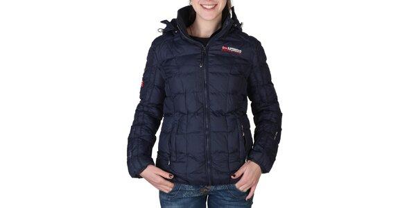 Dámska tmavo modrá prešívaná bunda s kapucňou Geographical Norway