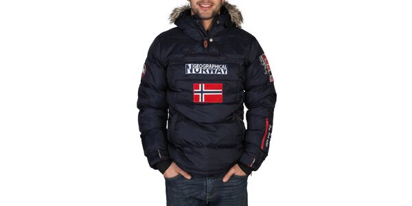Pánska tmavo modrá bunda s kapucňou Geographical Norway