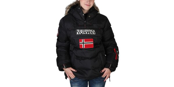 Dámska čierna bunda s kapucňou a kožúškom Geographical Norway