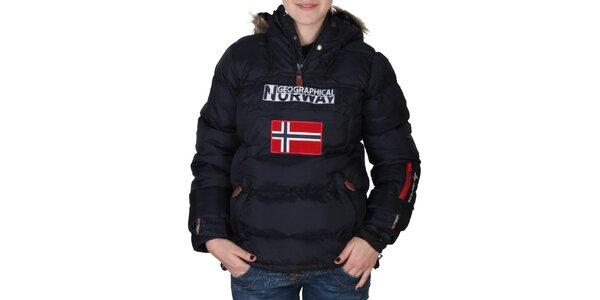 Dámska tmavo modrá bunda s kapucňou s kožúškom Geographical Norway