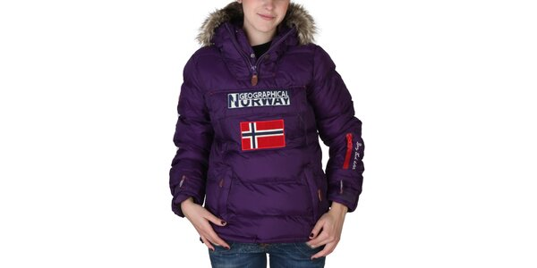 Dámska fialová bunda s kapucňou s kožúškom Geographical Norway