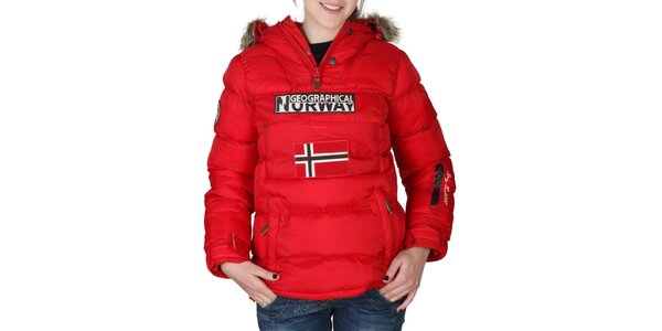 Dámska červená bunda s kapucňou s kožúškom Geographical Norway