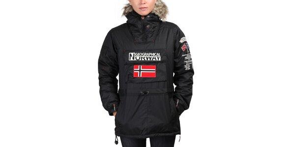 Dámska čierna bunda s kapucňou Geographical Norway