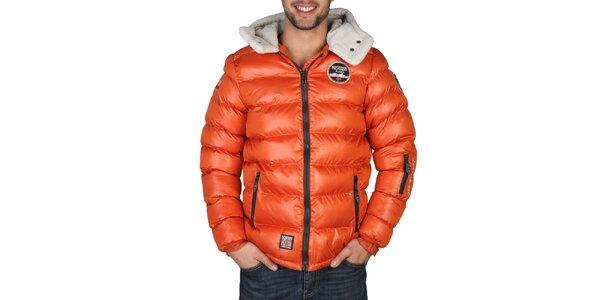Pánska oranžová zimná bunda s kapucňou Geographical Norway