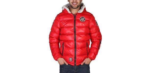Pánska červená zimná bunda s kapucňou Geographical Norway