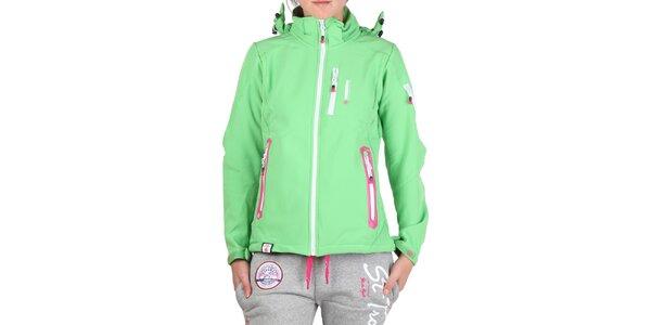 Dámska zelená bunda s farebnými zipsami Geographical Norway