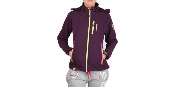 Dámska fialová bunda s farebnými zipsami Geographical Norway