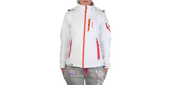 Dámska biela bunda s farebnými zipsami Geographical Norway
