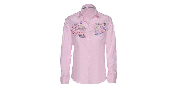 Dámska ružová košeľa s farebnými výšivkami Giorgio di Mare