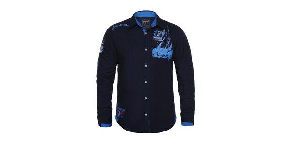 Pánska tmavo modrá košeľa s potlačou Giorgio di Mare