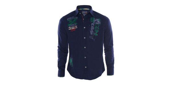 Pánska modrá košeľa s výšivkami Giorgio Di Mare