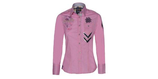 Dámska ružová košeľa s výšivkami Giorgio Di Mare