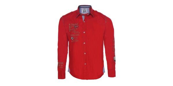 Pánska červená košeľa s výšivkami Giorgio Di Mare