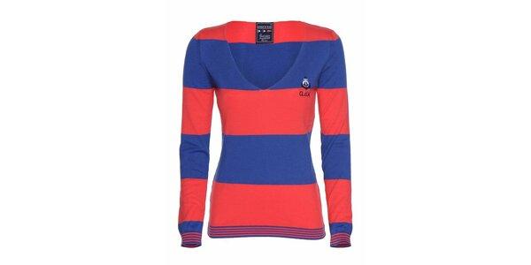 Dámske modro-červené pruhované tričko Giorgio di Mare