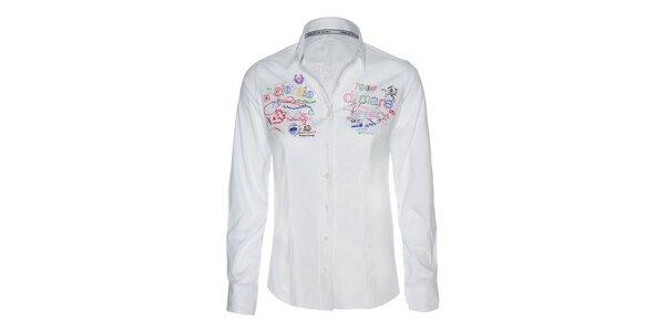 Dámska biela košeľa s farebnými výšivkami Giorgio di Mare