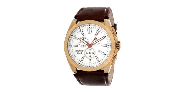 Pánske oceľové hodinky s hnedým koženým remienkom Esprit