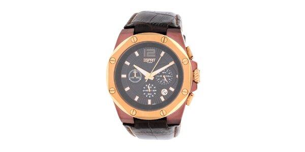 Pánske hnedozlaté hodinky s chronografom Esprit