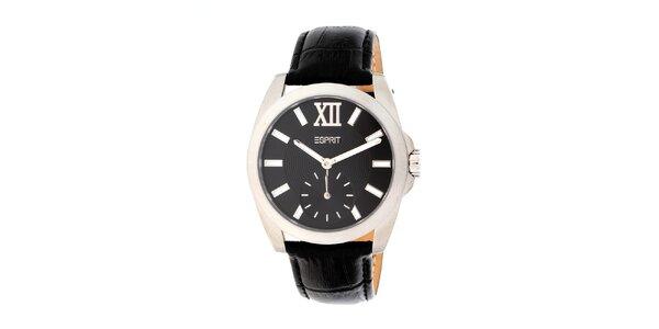 Dámske strieborné hodinky s čiernym remienkom Esprit