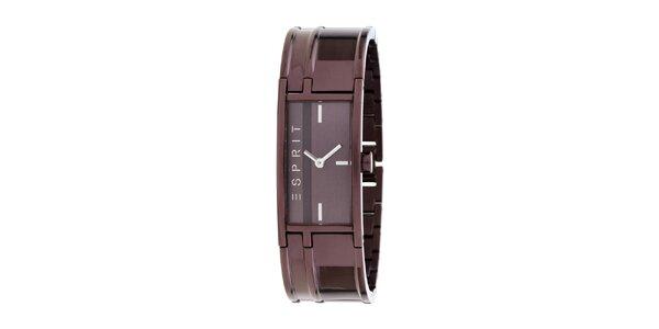 Dámske náramkové čokoládové hodinky z nerezovej ocele Esprit