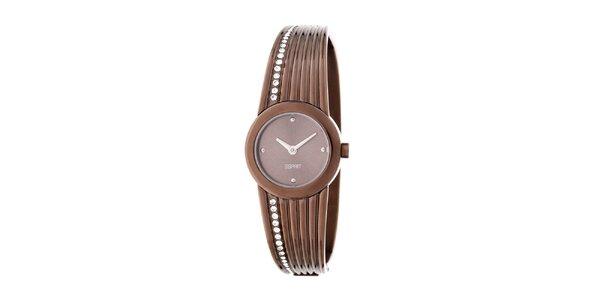 Dámske hnedé guľaté náramkové hodinky Esprit