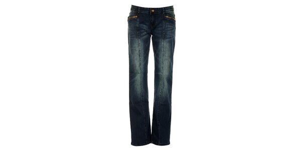 Dámske modré džínsy s fialovými švami Exe