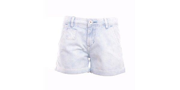 Dámske modro-biele pruhované minikraťasy Exe Jeans