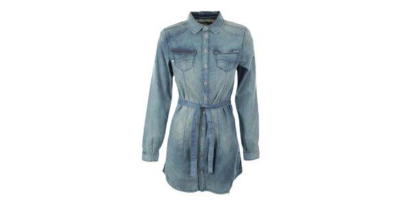 Dámska svetlo modrá dlhá košeľa Exe Jeans