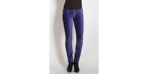 Dámske fialové zamatové nohavice Phard