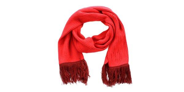 Oranžovo-červený šál so strapcami Exe Jeans