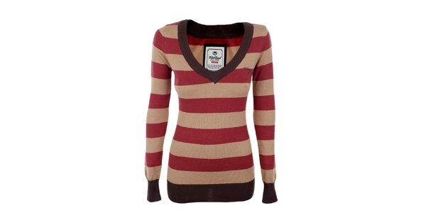 Dámsky červeno-béžovo pruhovaný sveter Timeout