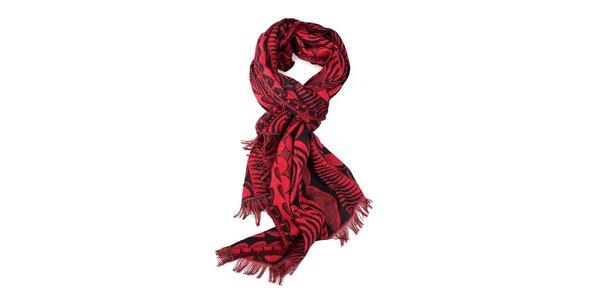 Dámsky červeno-čierny šál so vzorom Fraas