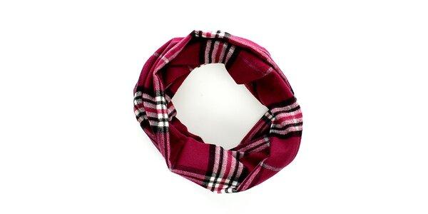 Tmavo červený kruhový šál s klasickým vzorom Fraas
