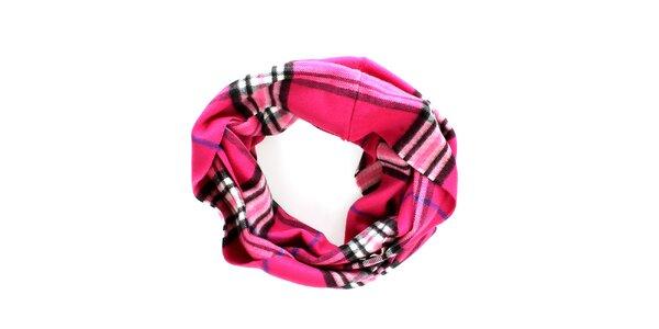 Dámsky ružový kruhový šál s klasickým vzorom Fraas