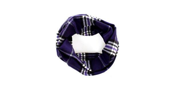 Dámsky tmavo fialový kruhový šál s klasickým vzorom Fraas