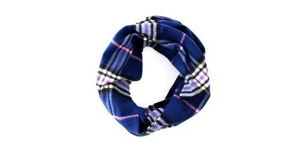Modrý kruhový šál s ružovo-bielym detailom Fraas