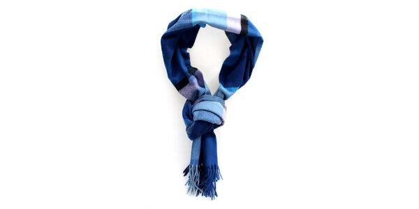 Modrý kockovaný šál Fraas so strapcami